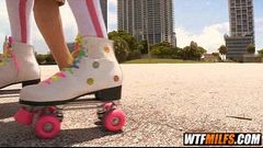 Slutty MILF fucked on roller skates by young stud 1 001