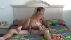 Hot Blonde Milf Cougar Riding Young Guy