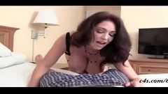 Mom fuck her son on the bed